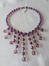 collana girocollo in mezzo cristallo viola
