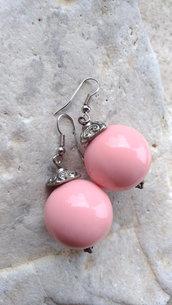 Orecchini tondi rosa