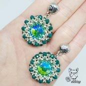 Orecchini in tessitura di perline e cristalli - orecchini pendenti - gioielli in cristallo e perline