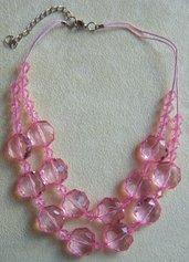 collana girocollo a 2 giri con perline in plastica colore rosa