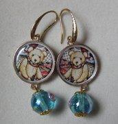 orecchini romantici orsetti e perla vetro stile veneziano fiorato