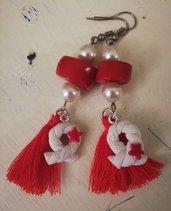 Orecchini pendenti stile marinaro rosso e bianco