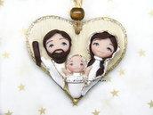 Presepe Sacra Famiglia su cuore da appendere fimo Natale 2018 idea regalo