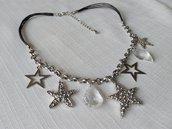 collana con cordini, catena e charms, stelle di natale