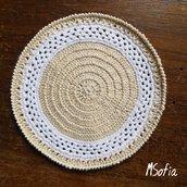 6 sottobicchieri fatti a mano con uncinetto di cotone beige e bianco