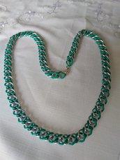 collana con doppia catena in alluminio, colore bianco e verde