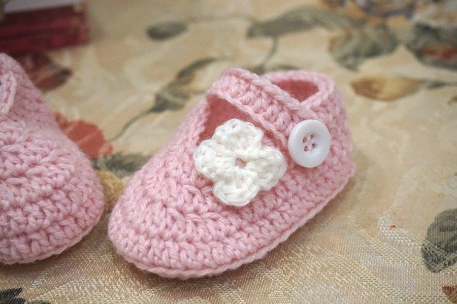 Scarpine neonato. Lana . Rosa . Taglia 0-3 mesi