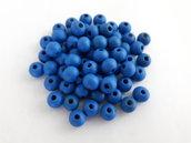 50pz - Perline in Legno tondo - Blu (8mm)
