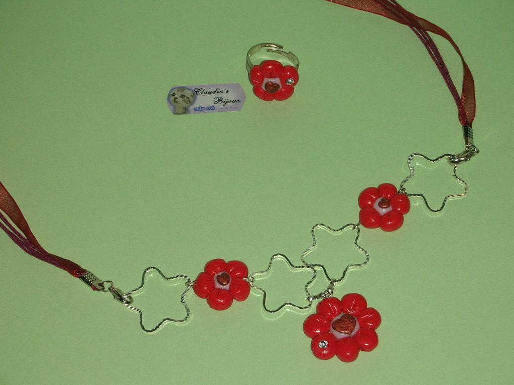 Collana e anello fiore fimo