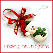 """Addobbo decorazione per albero di Natale """" Pupazzo neve Kawaii """" segnaposto idea regalo Fimo cernit da appendere personalizzabile  con nome"""