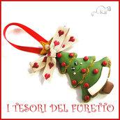 """Addobbo decorazione per albero di Natale """" Pino Kawaii """" segnaposto idea regalo Fimo cernit da appendere decorazione personalizzabile  con nome su richies"""