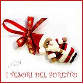 """Addobbo decorazione per albero di Natale """" Babbo Natale """" Fimo cernit Kawaii regalo personalizzabile  con  nome"""