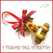 """Addobbo decorazione per albero di Natale """" Renna """" Fimo cernit Kawaii regalo personalizzabile  con  nome"""