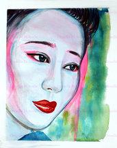 Acquerello geisha dipinto a mano