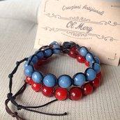 Bracciali pietredure rosso e blu mare