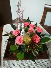 Centrotavola Natale con rose