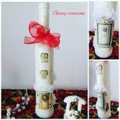 Decorazione natalizia particolare bottiglia decorata con tecnica decoupage e gel in rilievo