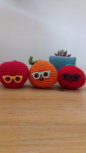 Verdure amigurumi con occhiali- pomodoro mela e arancia