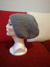 Spedizione gratuita, Berretto frigio,cappello floscio a uncinetto, cappello a uncinetto stile rasta, cappello pesante in lana grigio e blu