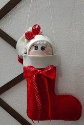 Calza natalizia con faccino in lycra