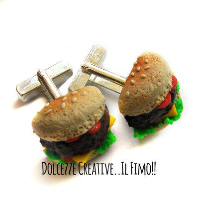 Gemelli da polso - Hamburger - panini insalata, formaggio, pomodoro ecc -  Handmade in fimo e cernit
