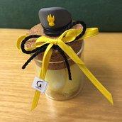 Barattolo in vetro con tappo in sughero e berretto Guardia di Finanza realizzato a mano