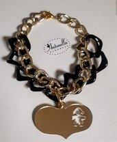Bracciale oro e nero con cuore