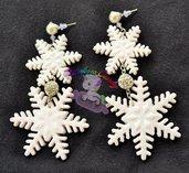 orecchini in fimo cristalli di neve