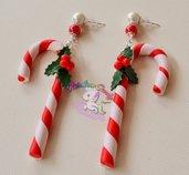 orecchini bastoncini di zucchero in fimo- orecchini candy canes