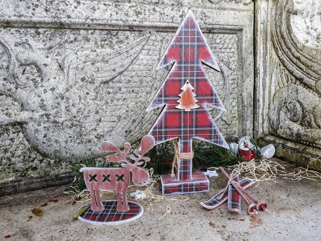 Albero di Natale, sci  e renna in legno