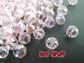 10 Rondelle di cristallo sfaccettato - Rosa AB (10x8mm)