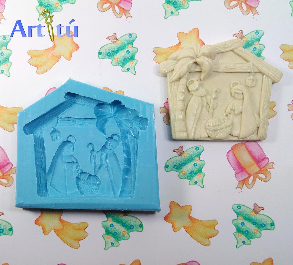 Stampo Natale Natività, soggetto originale, per quadretti decorazioni natalizie, stampo in silicone artigianale per resina, gesso, ceramica a freddo, presepe