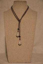 Collana in metallo e Perle naturali
