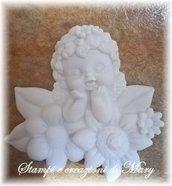 Stampo angelo con fiori in gomma siliconica da colata