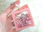 Portachiavi Shaker // Kitty Rosa con Glitter // Fatto a Mano ❤