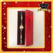 Orologio Gioiello color Oro e Rosso con Maglie Bizantine e Corniola