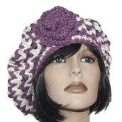Basco in lana con rosa viola e panna