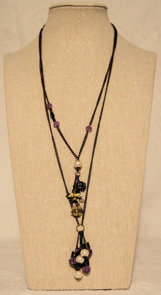 Collana in metallo cristallo e perle sintetiche