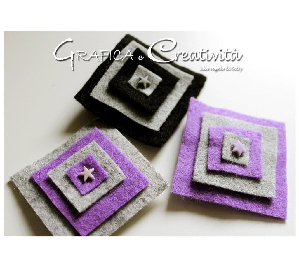 Spille con quadrati in pannolenci
