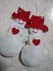 Addobbi natale - pupazzi palla di neve, decorazione natalizia interamente fatti a mano, idea regalo, amore