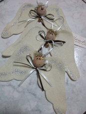 Set 3 Angeli in feltro lana, dipinti a mano, decorazione festività, idea regalo nascite, addobbo grazioso
