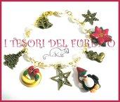 """Bracciale Natale  """"Fufuclassic pinguino cappello  babbo  Natale   perle rosse bianche verde """" stella Natale charm Fimo cernit Natale idea regalo"""