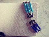 Braccialetto etnico perline blu e azzurro