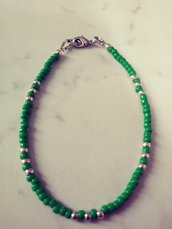 Bracciale unisex stile minimalista verde e silver con confezione regalo