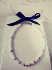 Bracciale unisex stile minimalista bianco e silver con confezione regalo