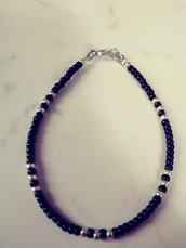 Bracciale unisex stile minimalista nero e silver con confezione regalo