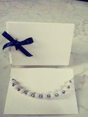 Bracciale perle bianche e silver in confezione regalo