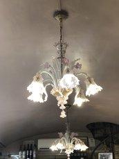 Braccio o tazza, ricambi per lampadari Venini tipo Arlecchino, Carlo Scarpa, , in vetro soffiato di Murano, trasparente e rosa
