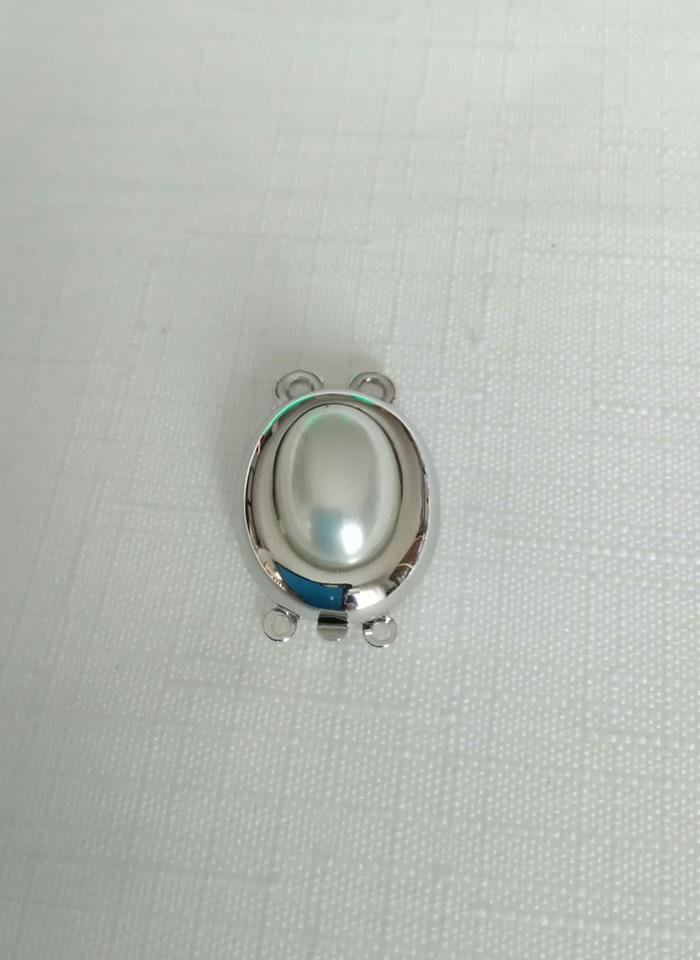 1 x chiusura fermaglio per collana, a 2 fili in metallo argentato e perla