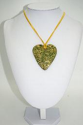 """Collana in Fimo """" cuore verde"""""""